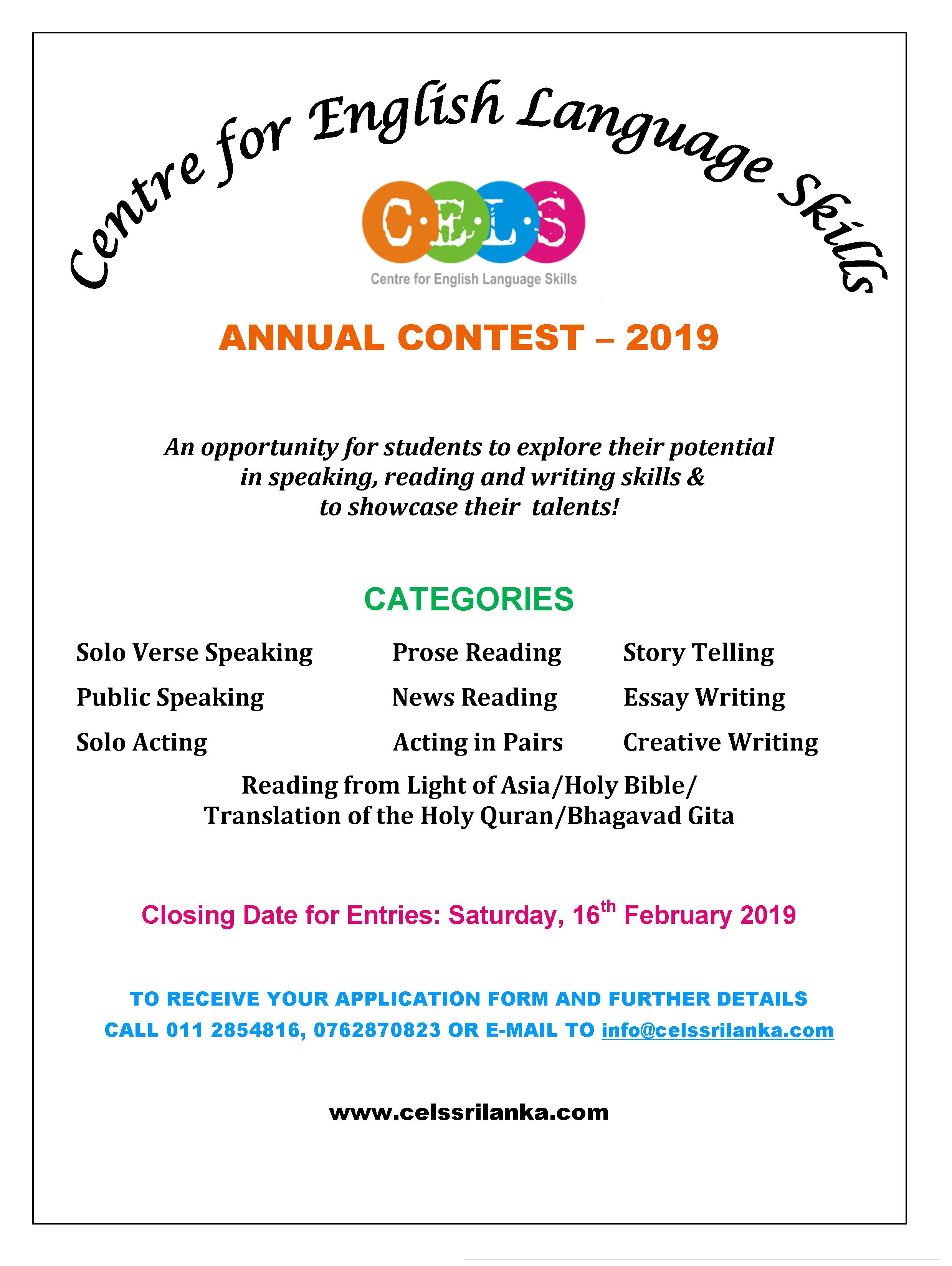 CELS Annual Contest 2019 for website